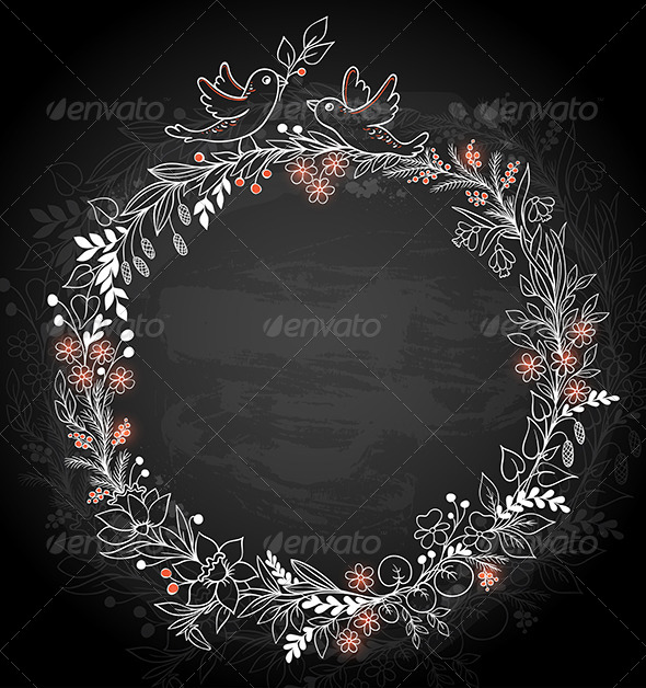 GraphicRiver Frame of Flowers on a Black Background 6889753