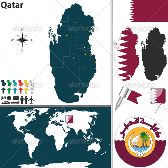 GraphicRiver Map of Qatar 6890876