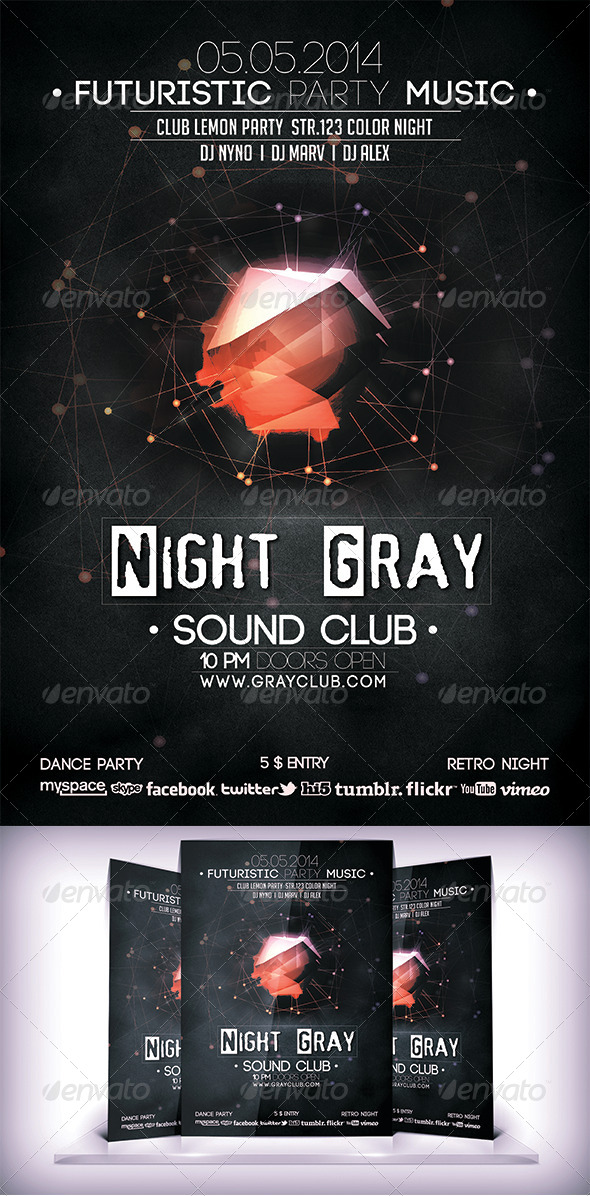 GraphicRiver Night Gray Sound Club Flyer 6892244