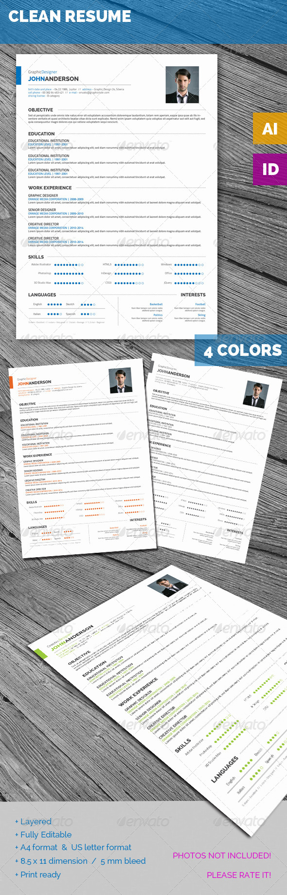 GraphicRiver Clean Resume 6872643