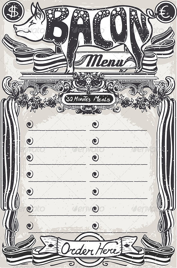 GraphicRiver Vintage Page Bacon Menu for Restaurant 6893085