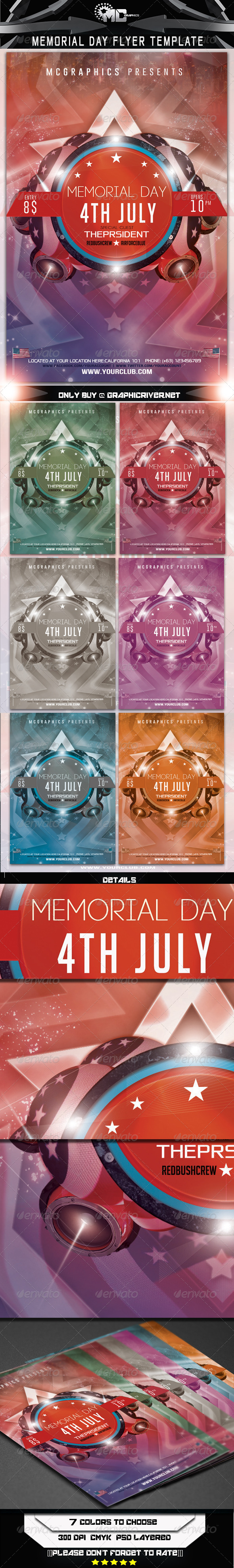 GraphicRiver Memorial Day Flyer Template 6893394
