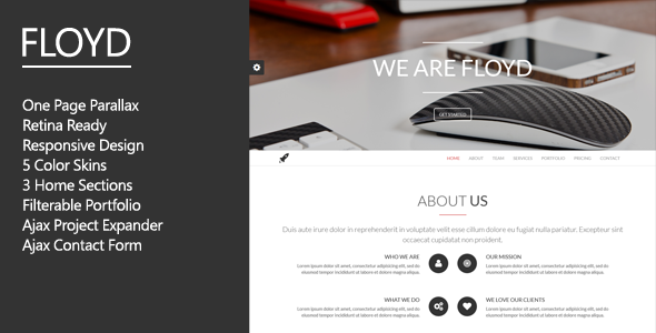 ThemeForest Floyd One Page Parallax Theme 6883450