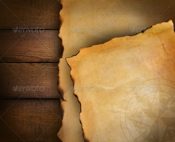 Closeup of parchment paper on wood - Stock Photo - Images