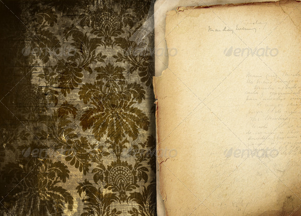 Vintage floral background with old papers - Stock Photo - Images
