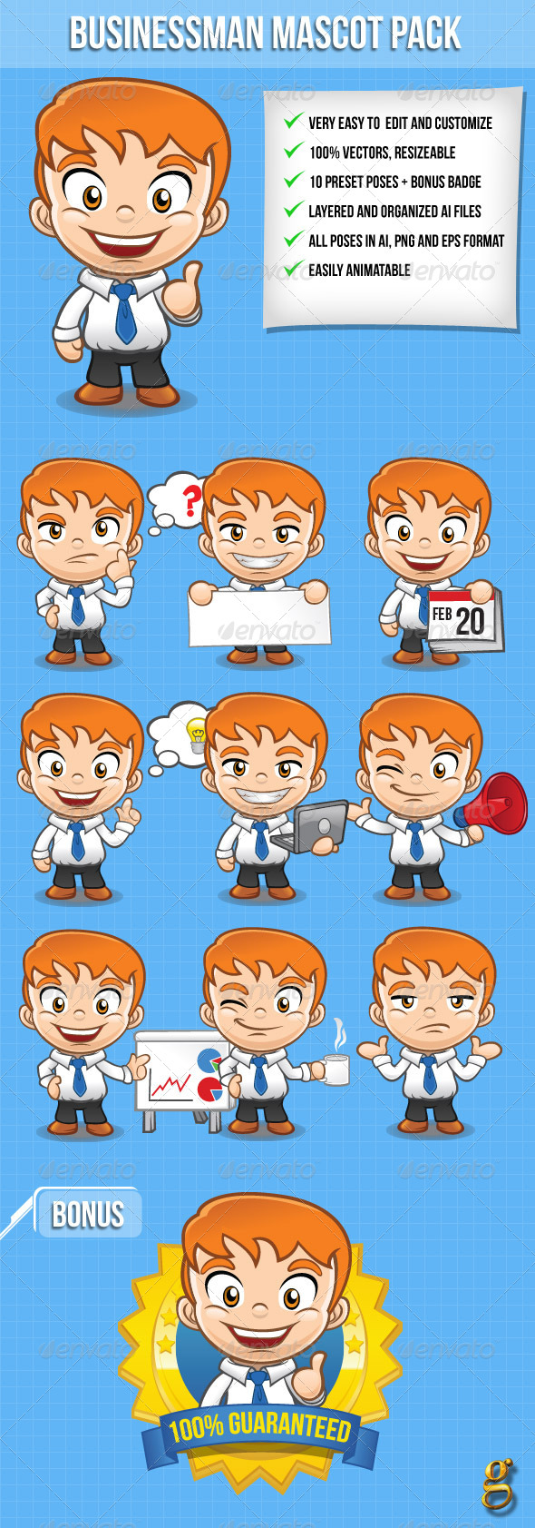GraphicRiver Businessman Vector Mascot Pack 6758021