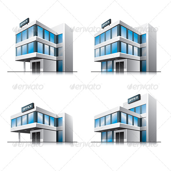 GraphicRiver Four Cartoon Office Buildings 6895731
