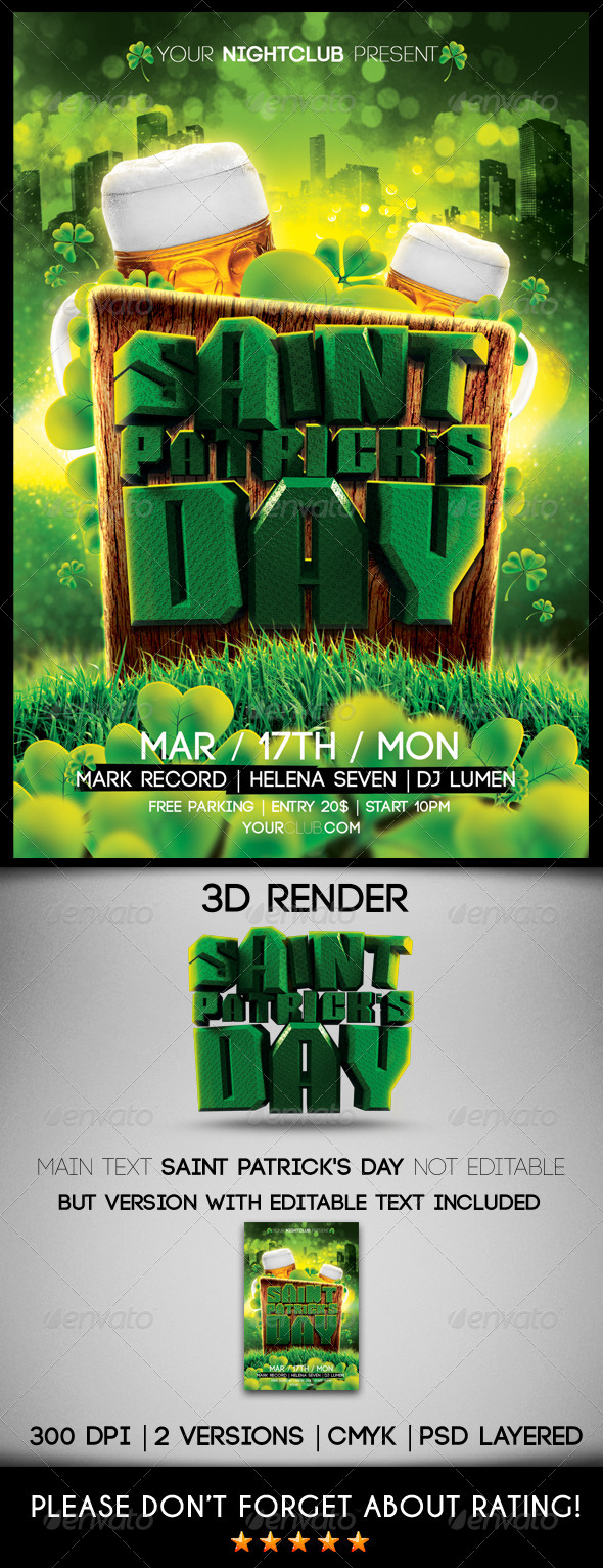 GraphicRiver Saint Patrick s Day Flyer Template 6896178