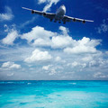 Jumbo jet is landing at seaside airport - PhotoDune Item for Sale