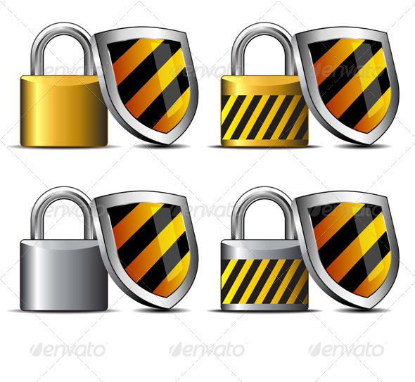 GraphicRiver Padlock and Shield Keeping You Safe Icons 6896881