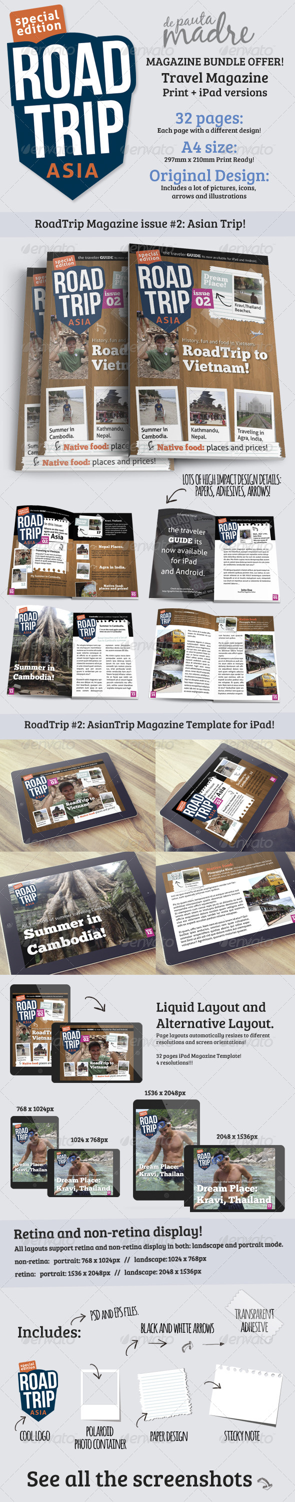 GraphicRiver AsianTrip Magazine Bundle Print & iPad Templates 6897139