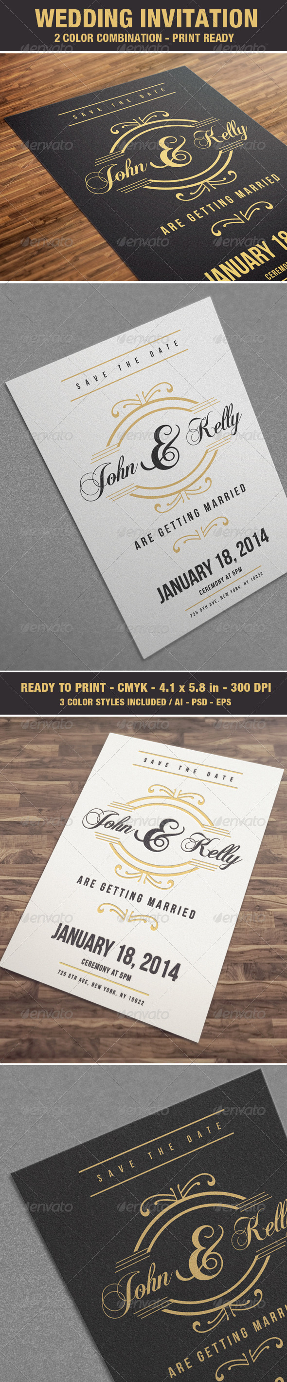 GraphicRiver Elegant & Vintage Wedding Invitation Card V4 6898074