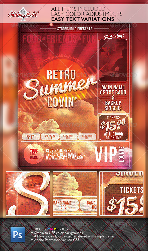 GraphicRiver Summer Lovin Retro Flyer Template 6898751