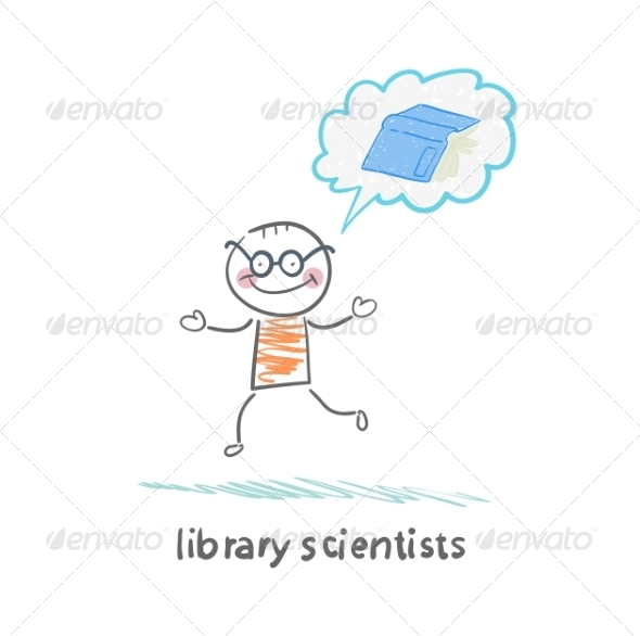 GraphicRiver Library Scientists Think About the Book 6899241