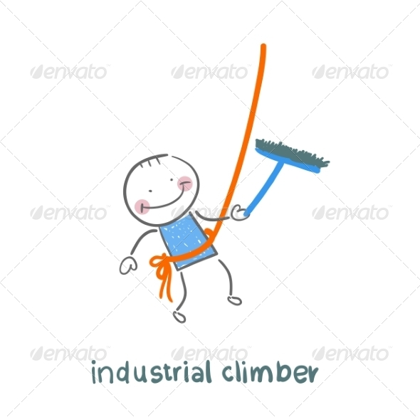 GraphicRiver Industrial Climber Washes Windows 6899261