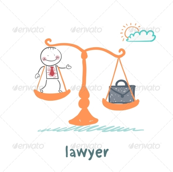 GraphicRiver Lawyer is on the Scales with a Suitcase 6899308