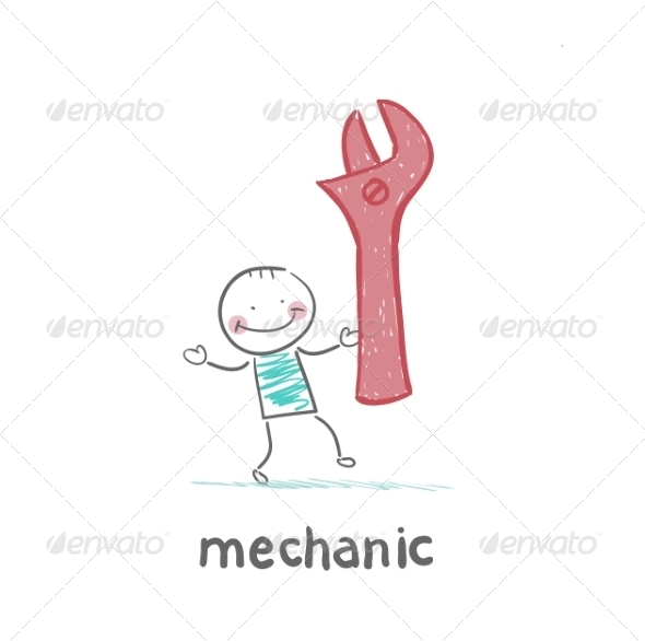 GraphicRiver Mechanic Holding a Red Wrench 6899363