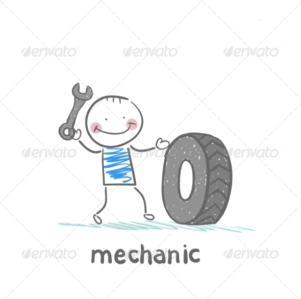 GraphicRiver Mechanic Holding a Wrench and a Wheel 6899417