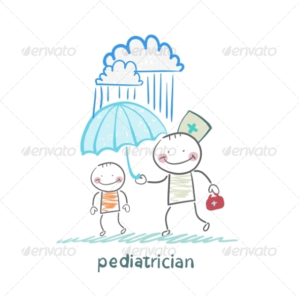 GraphicRiver Pediatrician Holding an Umbrella Over the Child 6899752