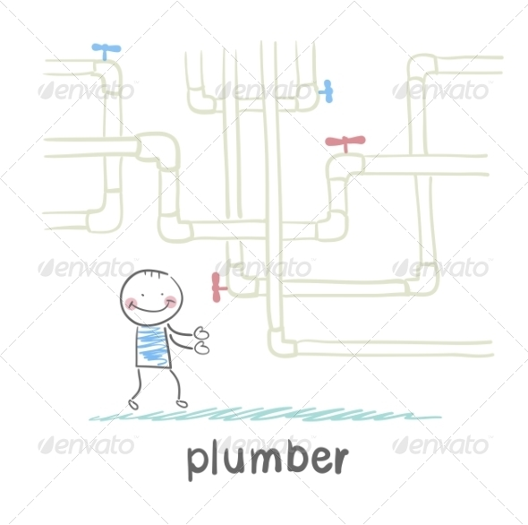 GraphicRiver Plumber Standing Near Pipes 6899940