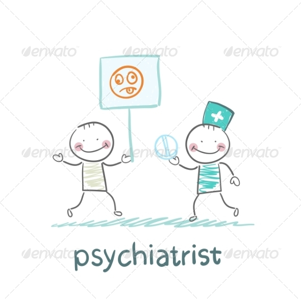 GraphicRiver Psychiatrist Gives the Patient a Pill 6900205