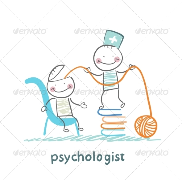 GraphicRiver Psychologist on a Stack of Books 6900223