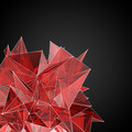 abstract red glass  modern triangular shape on a black backgroun - PhotoDune Item for Sale