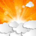 white clouds with sun rays on an orange striped background - PhotoDune Item for Sale