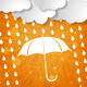 clouds with white umbrella and rain drops on orange triangular s - PhotoDune Item for Sale