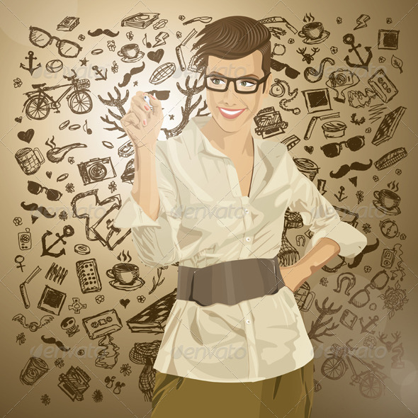 GraphicRiver Vector Hipster Business Woman Writing Something 6901584