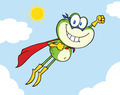 Frog Superhero Character Flying In The Sky - PhotoDune Item for Sale