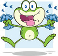 Green Frog Cartoon Character Jumping With Euro - PhotoDune Item for Sale