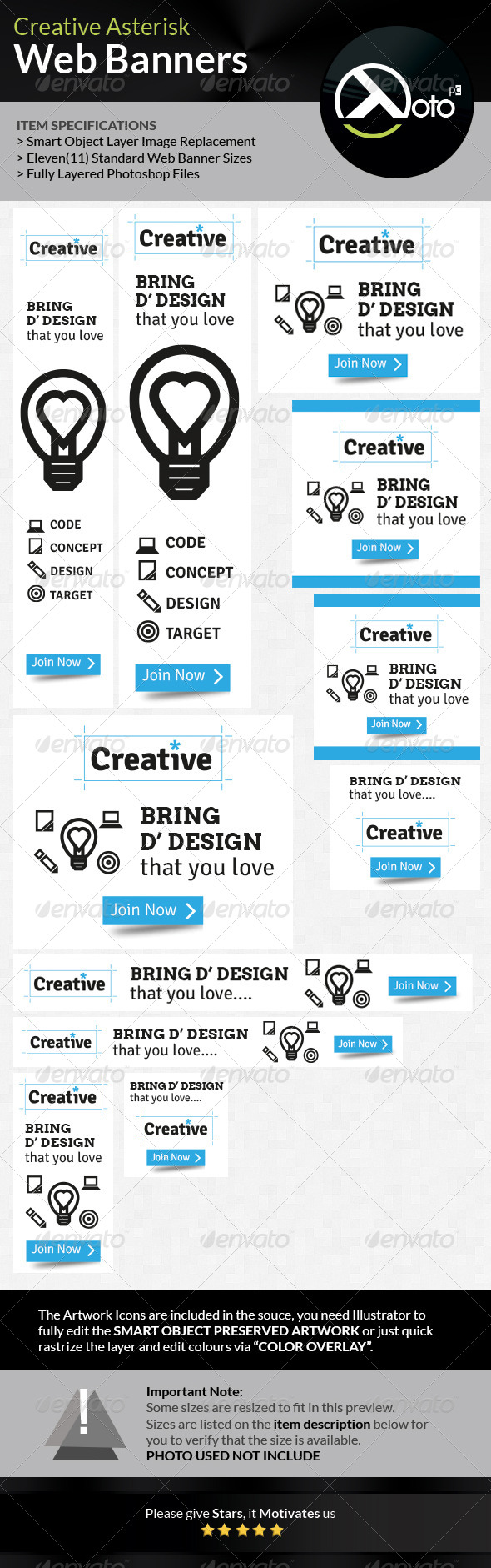 GraphicRiver Creative Asterisk Web Banners 6895506