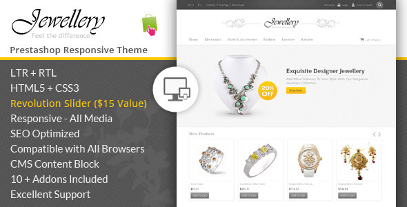 ThemeForest Jewellery Prestashop Responsive Template 6902592