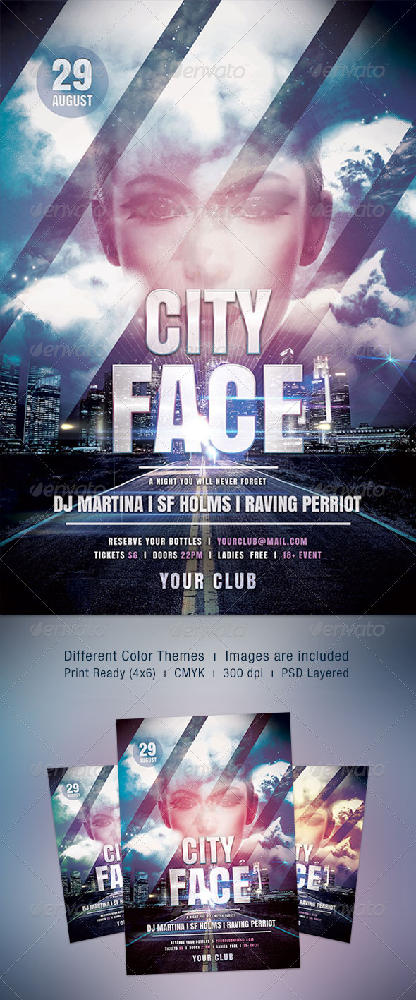City Face Flyer - Clubs & Parties Events