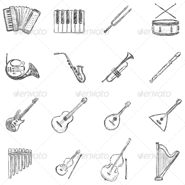 GraphicRiver Set of Sketch Musical Instruments Icons 6903948