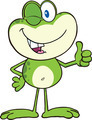Cute Green Frog Cartoon Character Winking And Holding A Thumb Up - PhotoDune Item for Sale