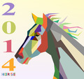 Horse symbol of New Year 2014 colorful abstract triangle silhouette composition - PhotoDune Item for Sale