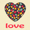 Love Heart Valentines day Greeting card Retro grunge style vintage - PhotoDune Item for Sale