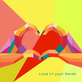 Love Heart in Hands Greeting card geometric style and trendy colors Romantic - PhotoDune Item for Sale
