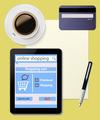 Online shopping with digital tablet ecommerce on desktop  - PhotoDune Item for Sale