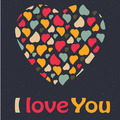 Love Heart Valentines day Greeting card trendy colors Romantic relationship concept in illustration - PhotoDune Item for Sale