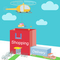Shop storehouse as Shopping Bag Commerce and various logistic cargo shipping  Flat design  - PhotoDune Item for Sale