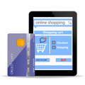 Online Shopping  concept e-commerce technology with modern  tablet pc and credit card isolated  - PhotoDune Item for Sale