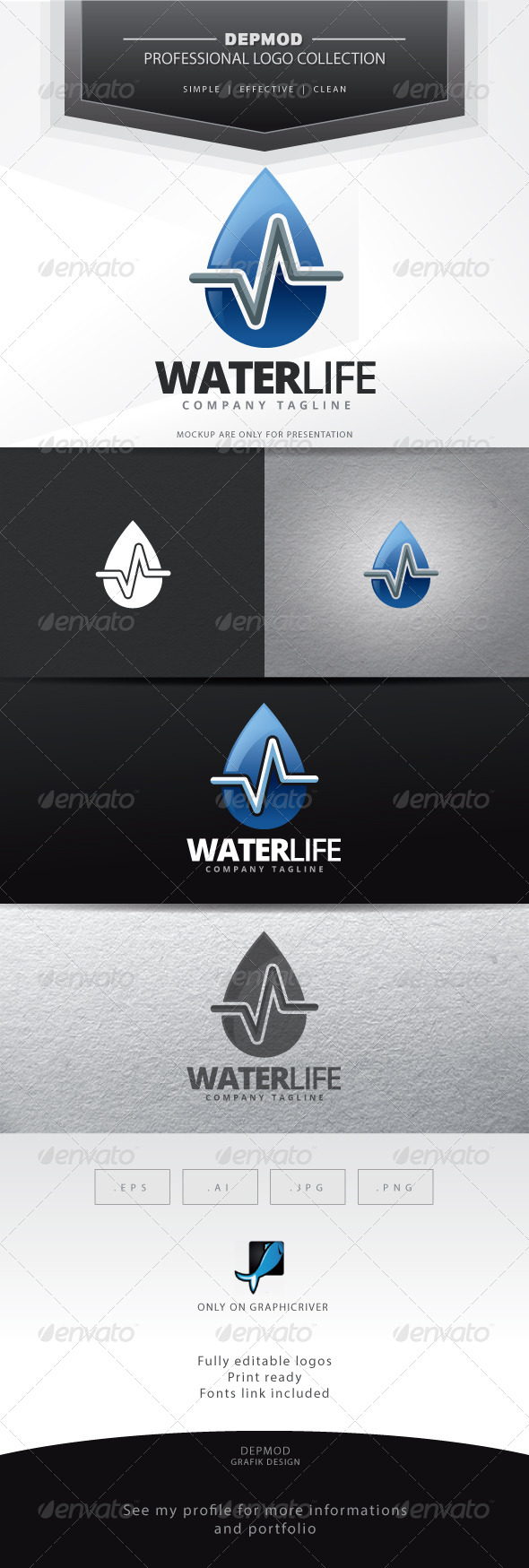 GraphicRiver Water Life Logo 6907299