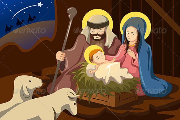 GraphicRiver Joseph Mary and Baby Jesus 6908339