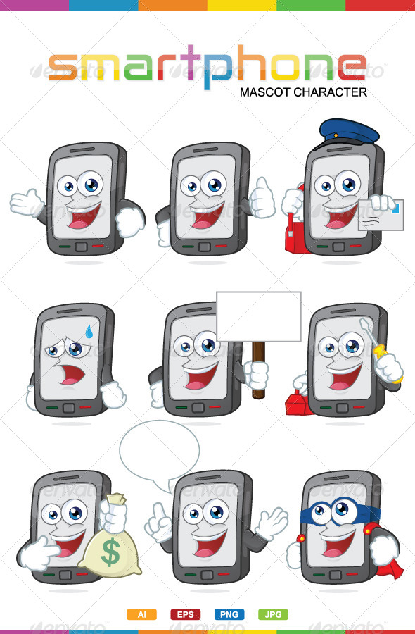 GraphicRiver Smartphone Mascot Character 6909279