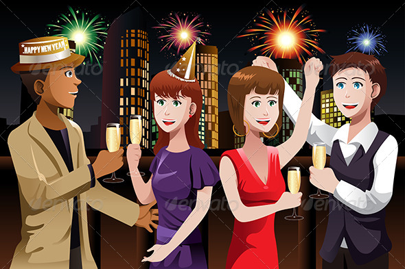 GraphicRiver Young People Celebrating New Year 6909398