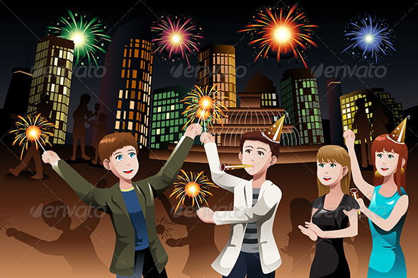 GraphicRiver Young People celebrating New Year 6909422