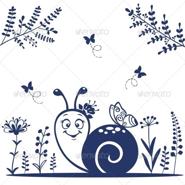 GraphicRiver Snail Silhouette 6909457